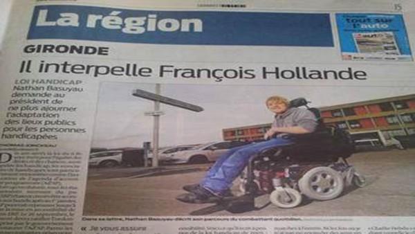 Nathan interpelle F. Hollande sur l'accessibilité pour les personnes handicapées
